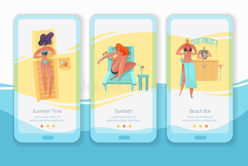 Sistema vertical de las banderas del app de mobil de la gente de la playa libre illustration