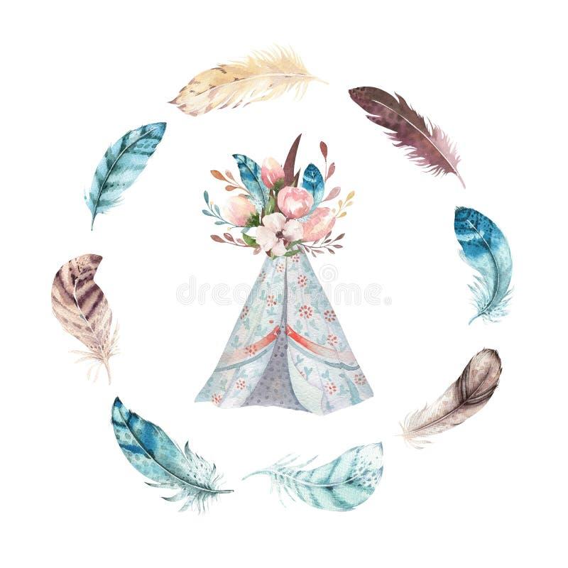 Sistema vibrante dibujado mano de la pluma de la acuarela Estilo de Boho Ilustración aislada en blanco Diseño de las plumas de la libre illustration
