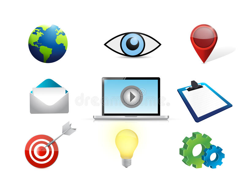 sistema video del icono del concepto del márketing del ordenador stock de ilustración