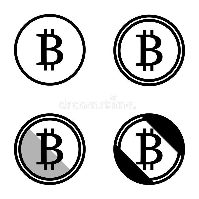 Sistema virtual de la moneda de Bitcoin de blanco y negro simple del logotipo de los iconos de los símbolos coloreado ilustración del vector