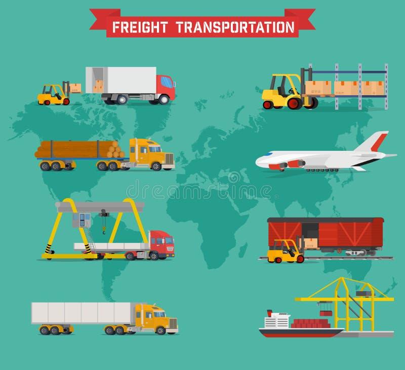 Sistema volumétrico del vector fresco en el envío mundial, el transporte pesado, maneras de la entrega y logística en negocio e i ilustración del vector