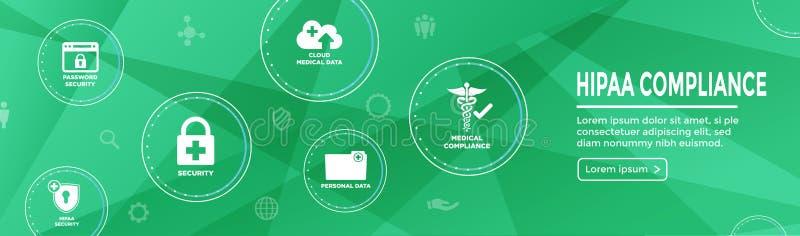 Sistema y texto médicos del icono del jefe w de la bandera del web de la conformidad de HIPPA libre illustration