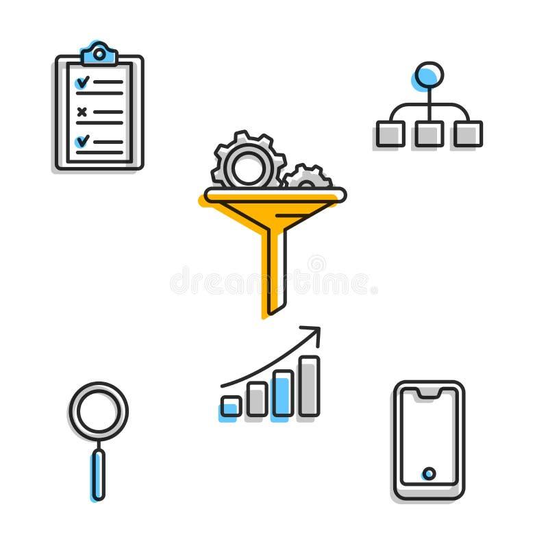 Sistemas creativos para la puesta en marcha del negocio en blanco ilustración del vector