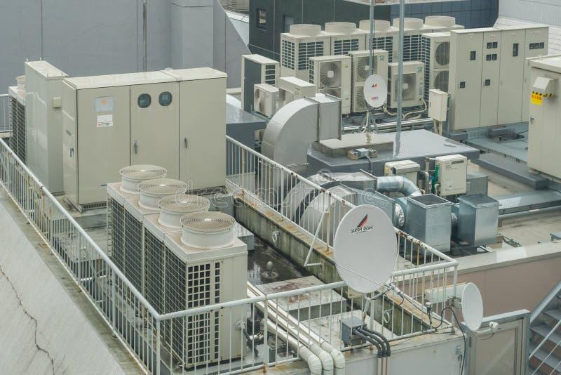 Sistemas de acero industriales del aire acondicionado y de ventilación fotografía de archivo
