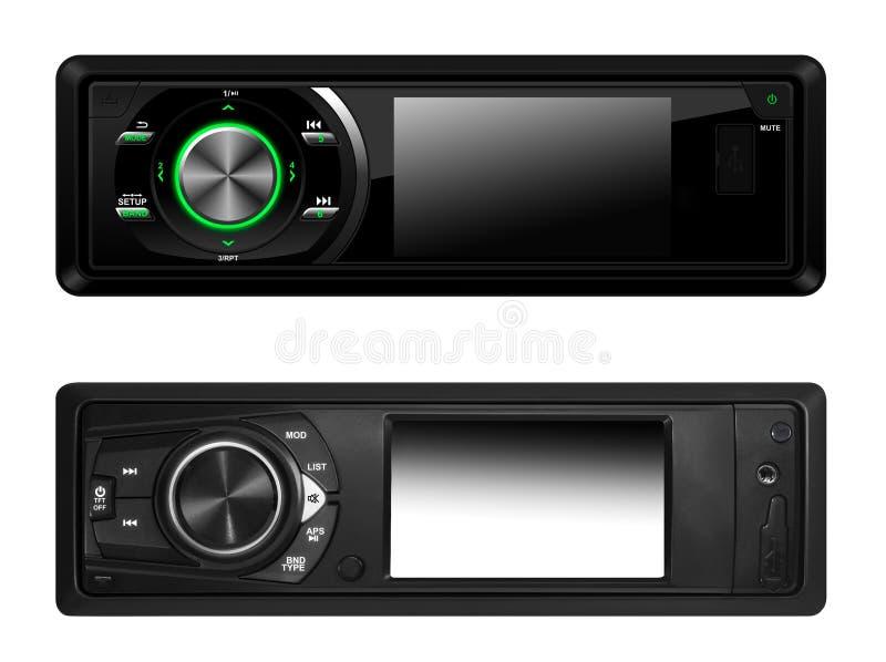 Sistemas de audio para el automóvil modernos aislados imágenes de archivo libres de regalías