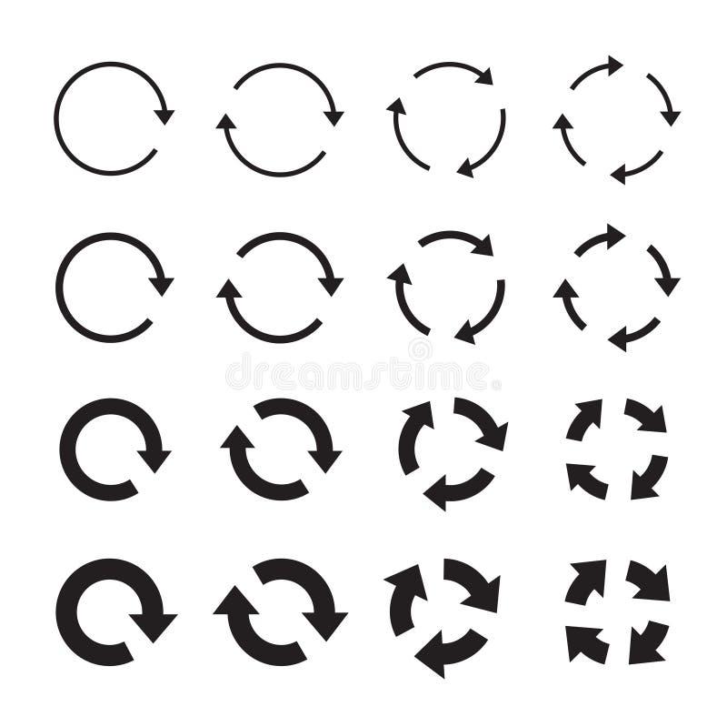 Sistemas de flechas negras del círculo Iconos del vector stock de ilustración
