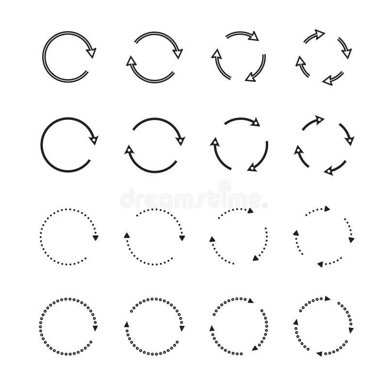 Sistemas de flechas negras del círculo Iconos del vector ilustración del vector