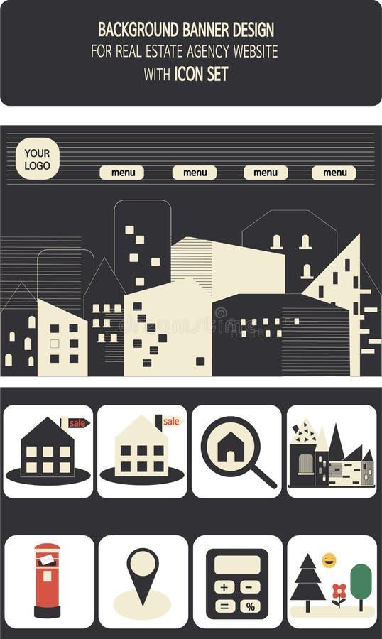 Sistemas de la bandera y del icono del web para la agencia inmobiliaria real stock de ilustración