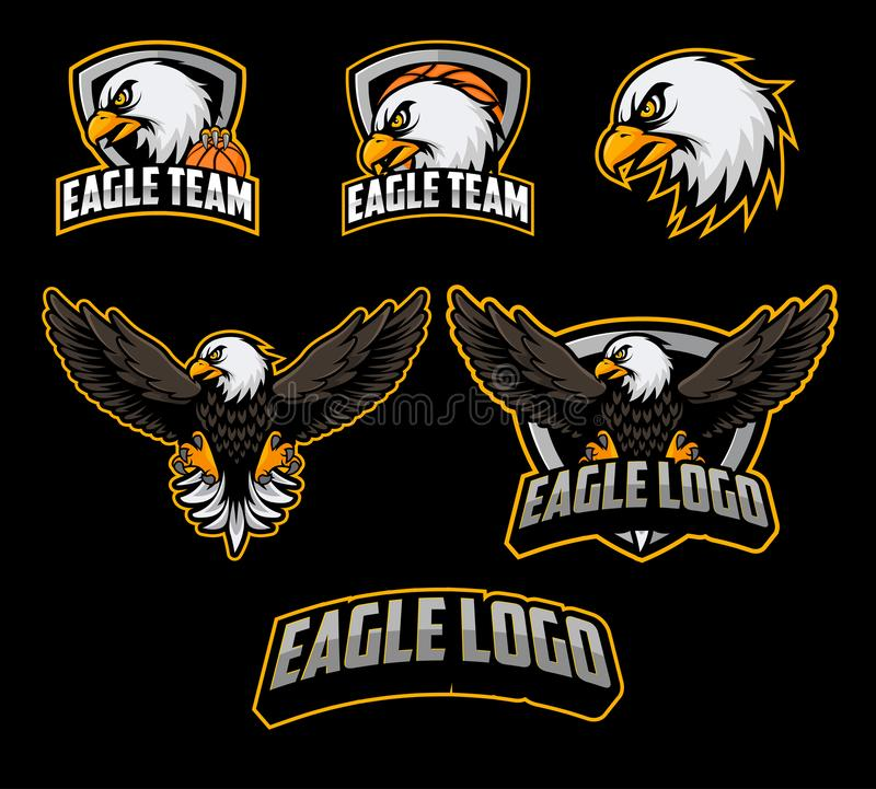 Sistemas de la mascota del logotipo del baloncesto con vector del ejemplo del águila libre illustration