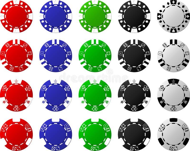 4 sistemas de las fichas de póker - 5 pedazos por cada uno stock de ilustración