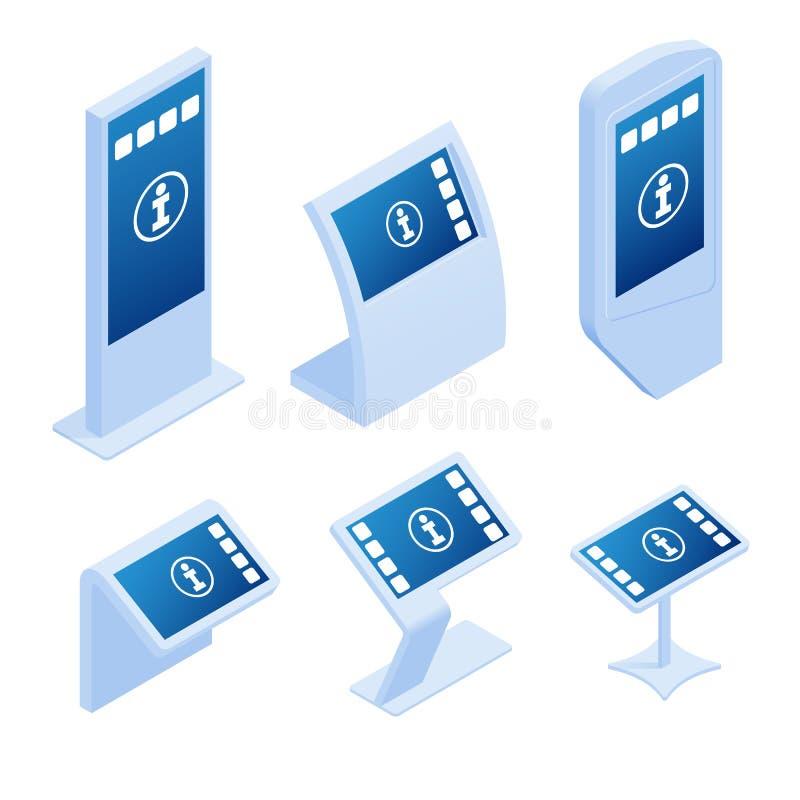 Sistemas de pagamento em linha isométricos, quiosque de informação interativo relativo à promoção, anunciando a exposição, suport ilustração do vetor