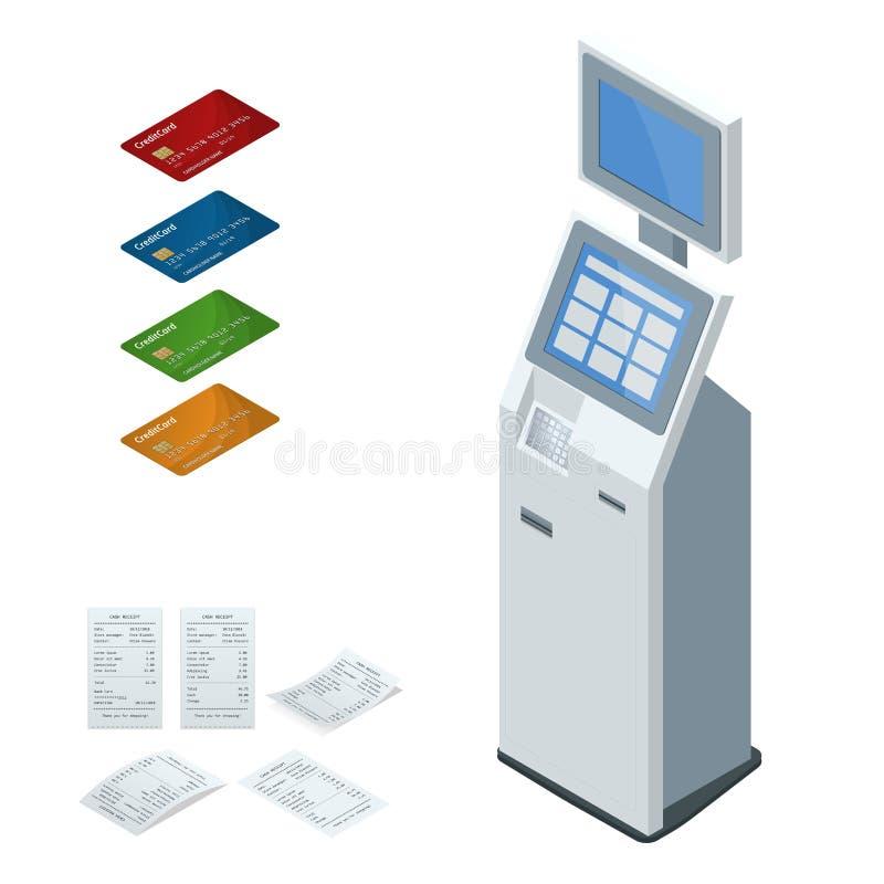 Sistemas de pago del vector isométrico del sistema y terminales en línea de los pagos del autoservicio, tarjeta del debe-haber y  stock de ilustración