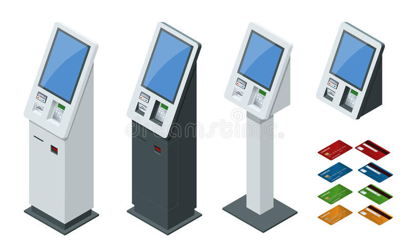 Sistemas de pago del vector isométrico del sistema y terminales en línea de los pagos del autoservicio, tarjeta del debe-haber y  libre illustration