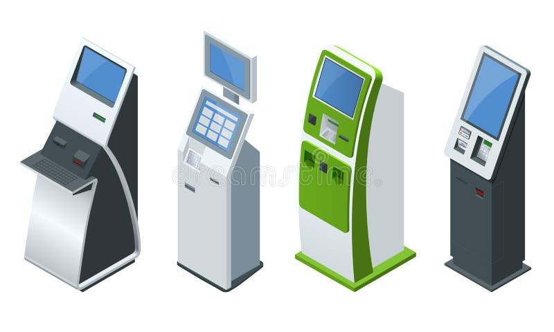 Sistemas de pago del vector isométrico del sistema y terminales en línea de los pagos del autoservicio, tarjeta del debe-haber y  ilustración del vector