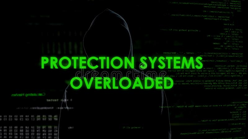 Sistemas de protección sobrecargados, ataques de los ddos en el gobierno y sitios del soldado imágenes de archivo libres de regalías
