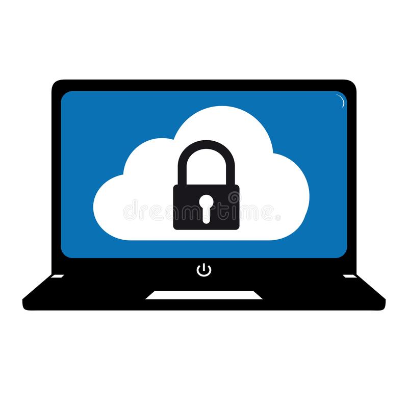 Sistemas de seguridad de la nube de la tecnología - ejemplo Editable del vector del ordenador stock de ilustración