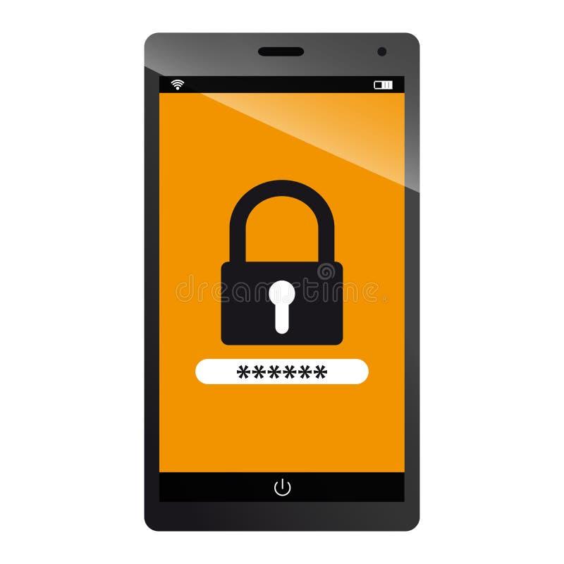 Sistemas de seguridad de la tecnología - ejemplo Editable del vector del dispositivo móvil libre illustration