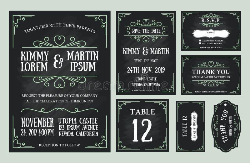 Sistemas del diseño de la pizarra de la invitación de la boda del vintage stock de ilustración
