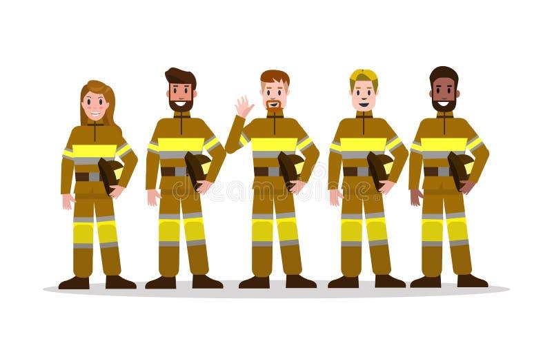 Sistemas del equipo contraincendios en uniforme del amarillo charac plano del bombero ilustración del vector