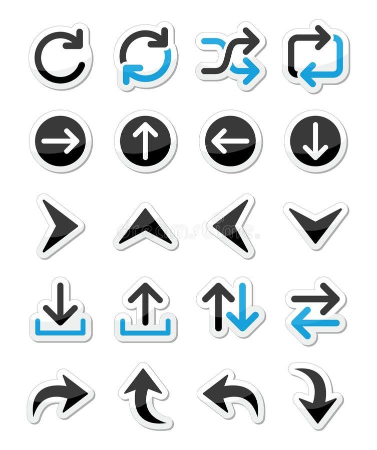 Sistemas del icono de la flecha aislados en blanco libre illustration