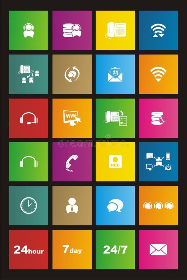 Sistemas del icono del estilo del metro del centro de atención telefónica libre illustration