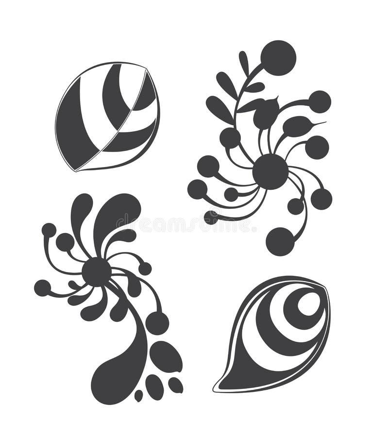Sistemas del ornamento floral aislados en el backgrou blanco libre illustration