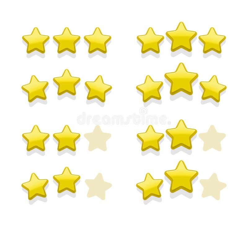 Sistemas del vector de estrellas amarillas simples ilustración del vector