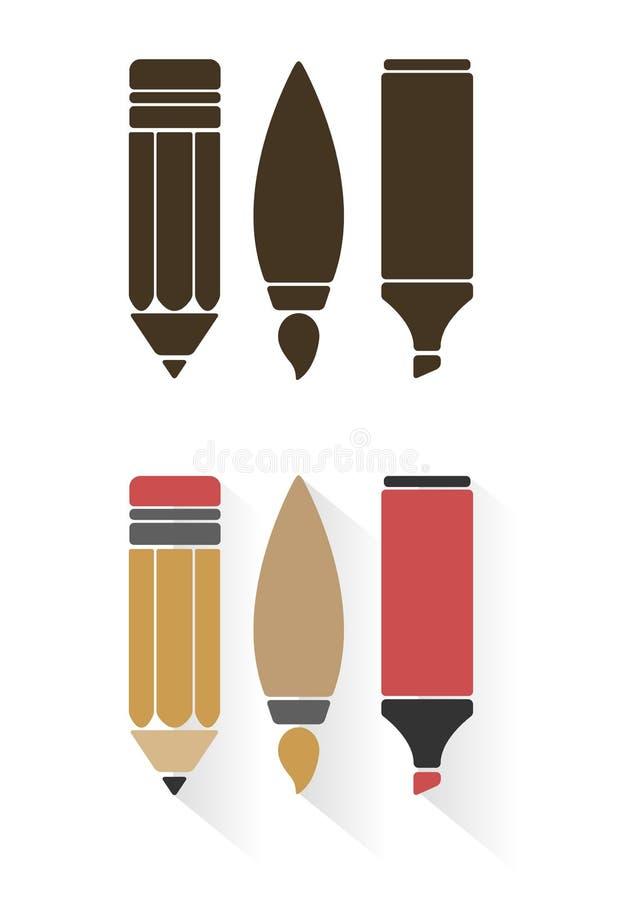Sistemas del vector de herramientas o de materiales de oficina del arte stock de ilustración