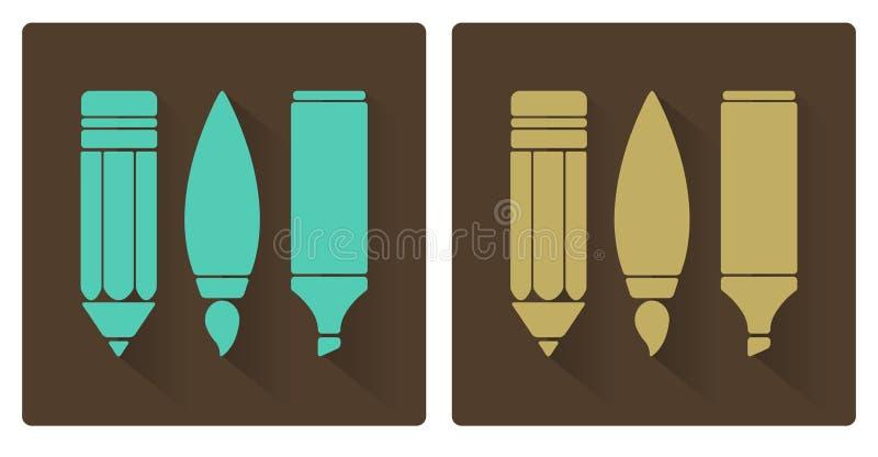 Sistemas del vector de las herramientas, del lápiz, del cepillo, y del marcador del arte ilustración del vector