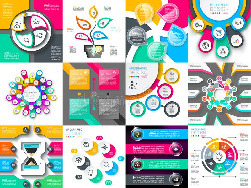 Sistemas del vector del diseño de Infographic usados para la disposición del flujo de trabajo stock de ilustración