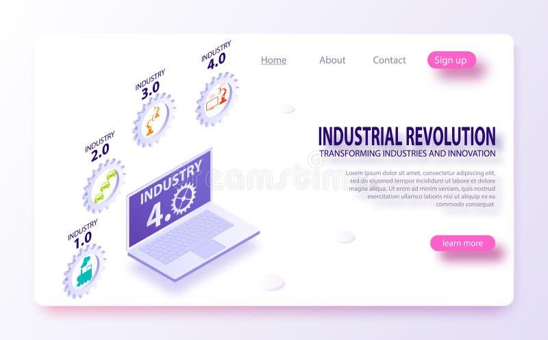 Sistemas físicos, nuvem que computa, indústria de computação cognitiva 4 0 infographic Internet ou indústria industrial 4 0 infog ilustração royalty free