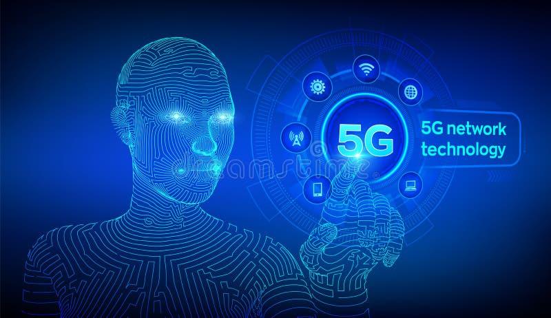 sistemas inalámbricos de red 5G y Internet de cosas, de la ciudad elegante y de la red de comunicaciones wifi móvil inalámbrico d libre illustration