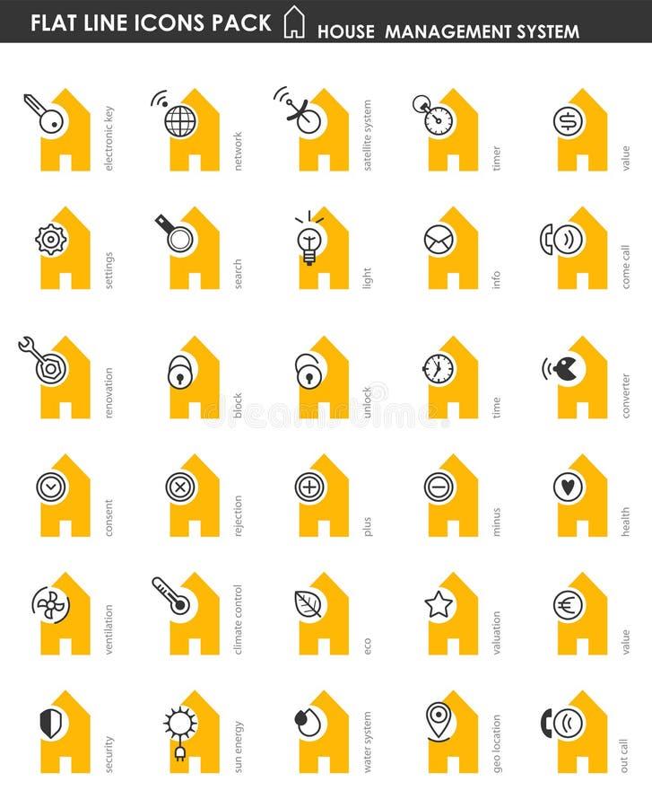 Sistemas lisos da casa do bloco do ícone ilustração do vetor