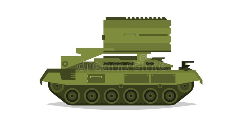 Sistemas múltiples del cohete del lanzamiento Equipo militar Transporte especial Misiles, bombas, destrucción del enemigo Todo el ilustración del vector