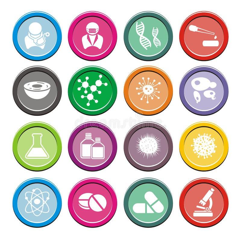 Sistemas redondos del icono de la biotecnología stock de ilustración