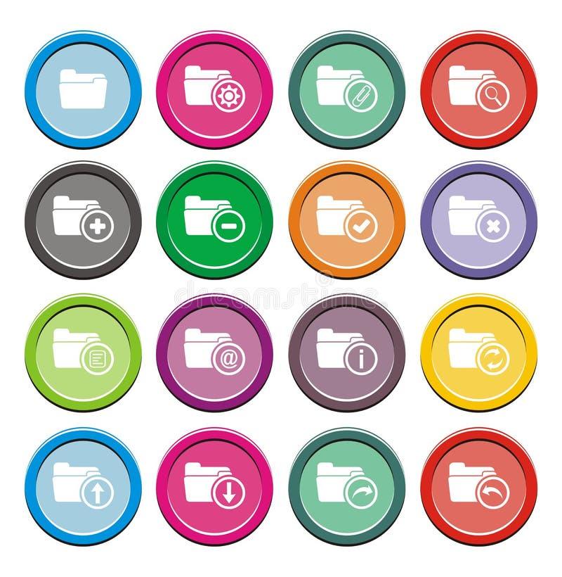 Sistemas redondos del icono de la carpeta ilustración del vector