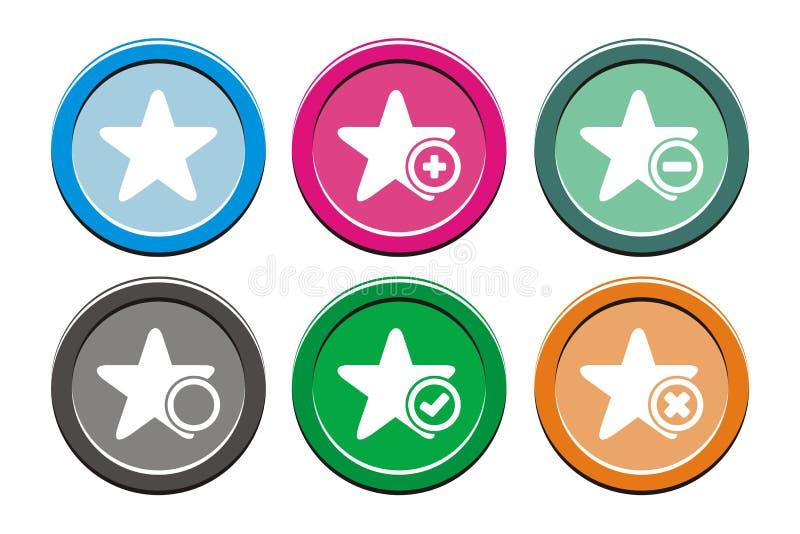 Sistemas redondos del icono de la estrella libre illustration