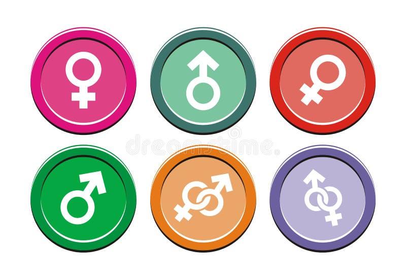 Sistemas redondos del icono del género stock de ilustración