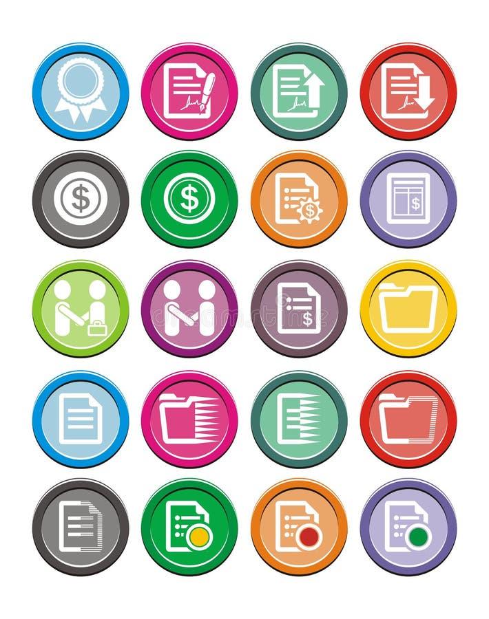 Sistemas redondos del icono del negocio stock de ilustración