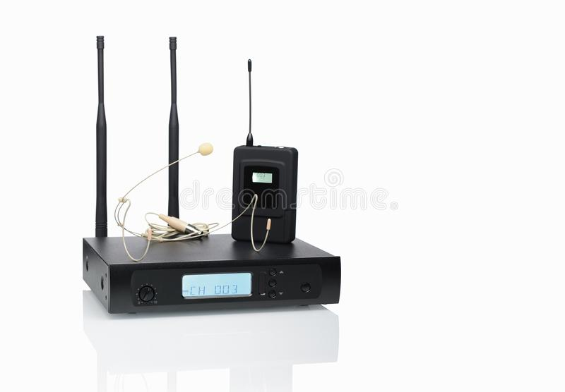 Sistemas sem fio do microfone dos auriculares fotografia de stock royalty free