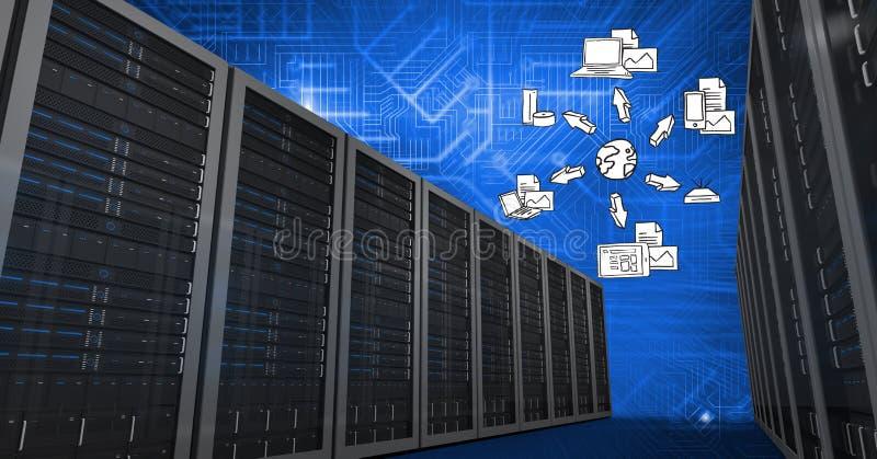 Sistemi del database server con il concetto di calcolo della nuvola nel fondo fotografie stock