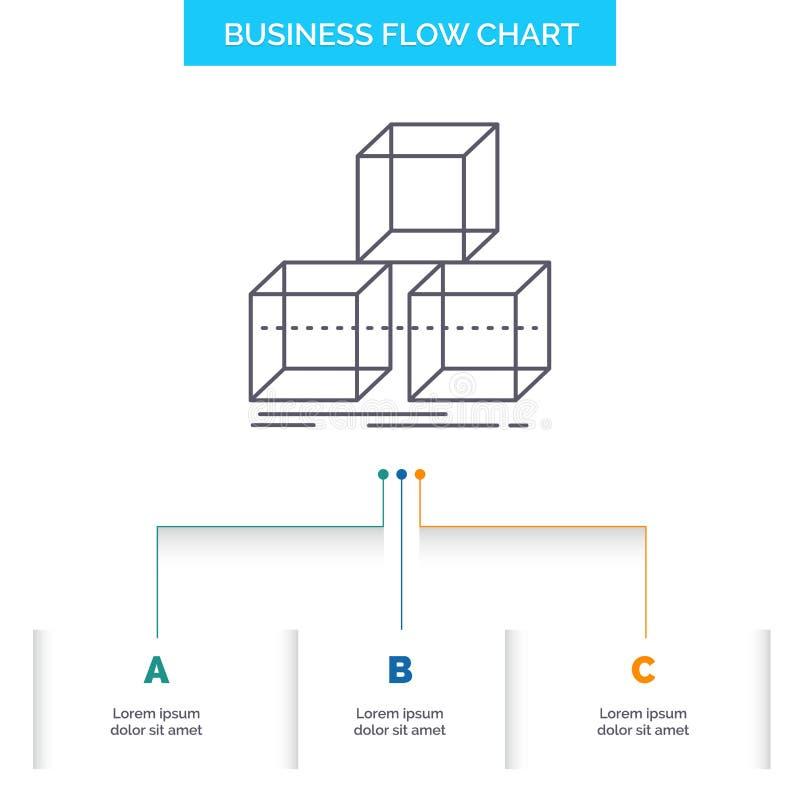 Sistemi, progettazione, la pila, 3d, progettazione del diagramma di flusso di affari della scatola con 3 punti Linea icona per il illustrazione di stock