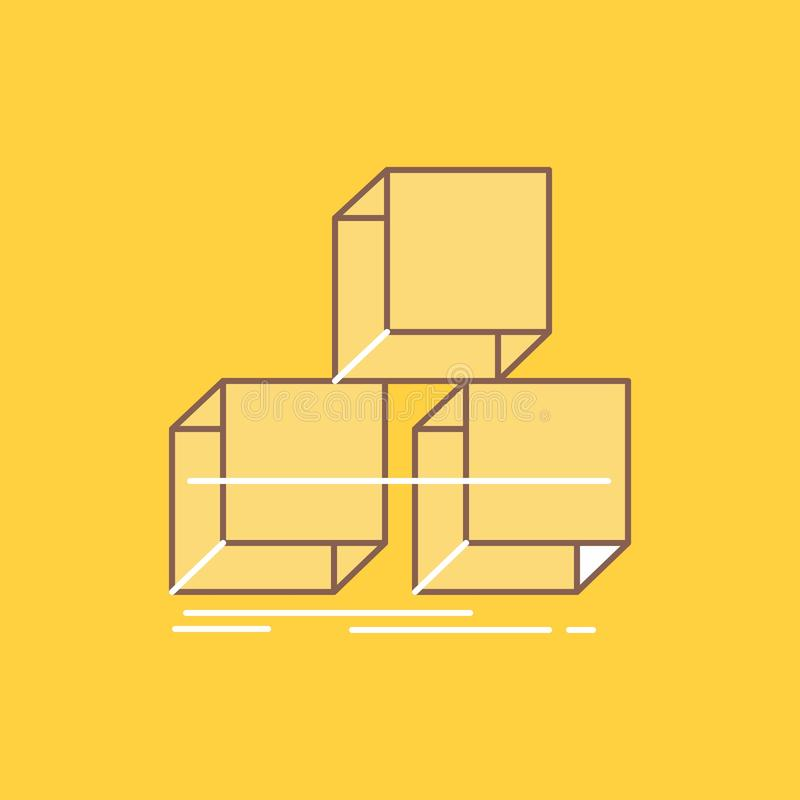 Sistemi, progettazione, la pila, 3d, la linea piana icona riempita della scatola Bello bottone di logo sopra fondo giallo per UI  illustrazione vettoriale