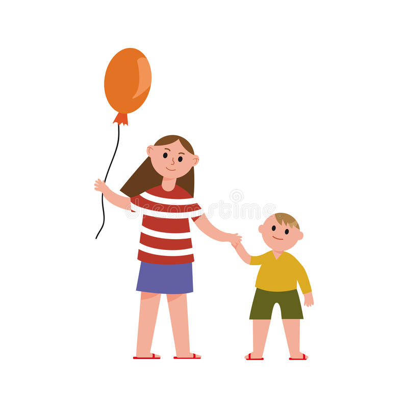 Sister with balloon holding her little brothers hand cartoon characters vector Illustration stock illustration