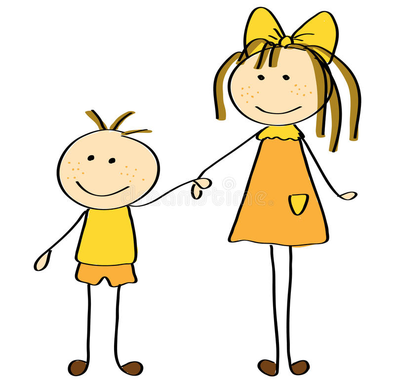 sister and brother stock vector illustration of brother 20328137 rh dreamstime com Stick Figure Family Clip Art Stick Figure Clip Art Microsoft