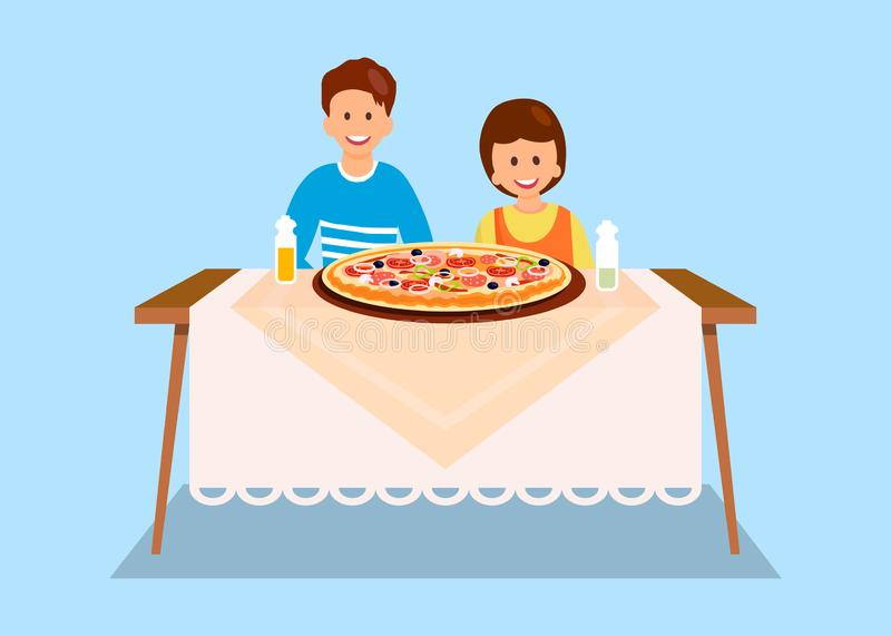 Sister and Brother Eating Dinner Flat Illustration. Cartoon Siblings Posing for Photo in Pizzeria. Friends Ordering Large Pepperoni, Margarita. Children vector illustration