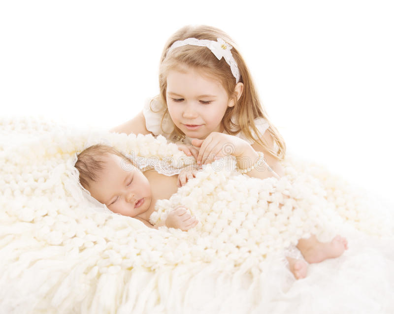 Sister and Brother Kids, Sleeping Baby, Girl Child and Newborn royalty free stock photography