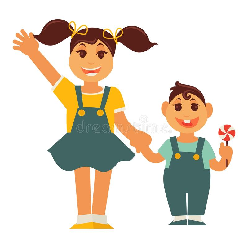 Sister girl and brother boy holding by hands vector flat family. Sister and brother holding by hands. Family children characters of young boy and girl. Vector stock illustration