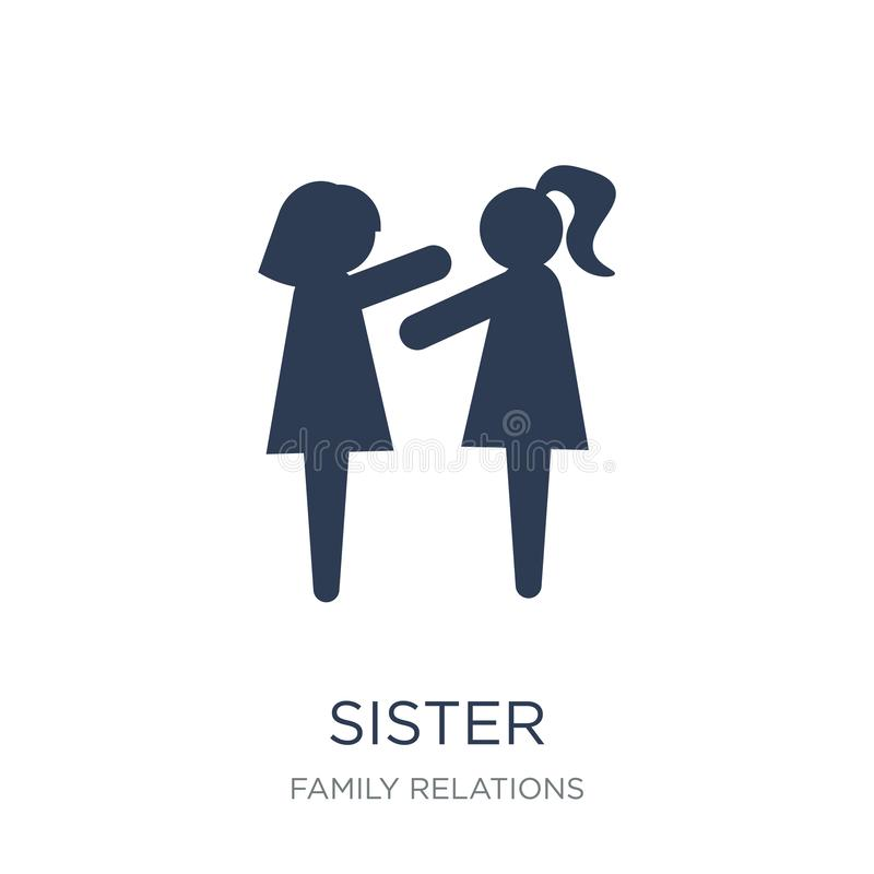 Sister icon. Trendy flat vector sister icon on white background. From family relations collection, vector illustration can be use for web and mobile, eps10 vector illustration