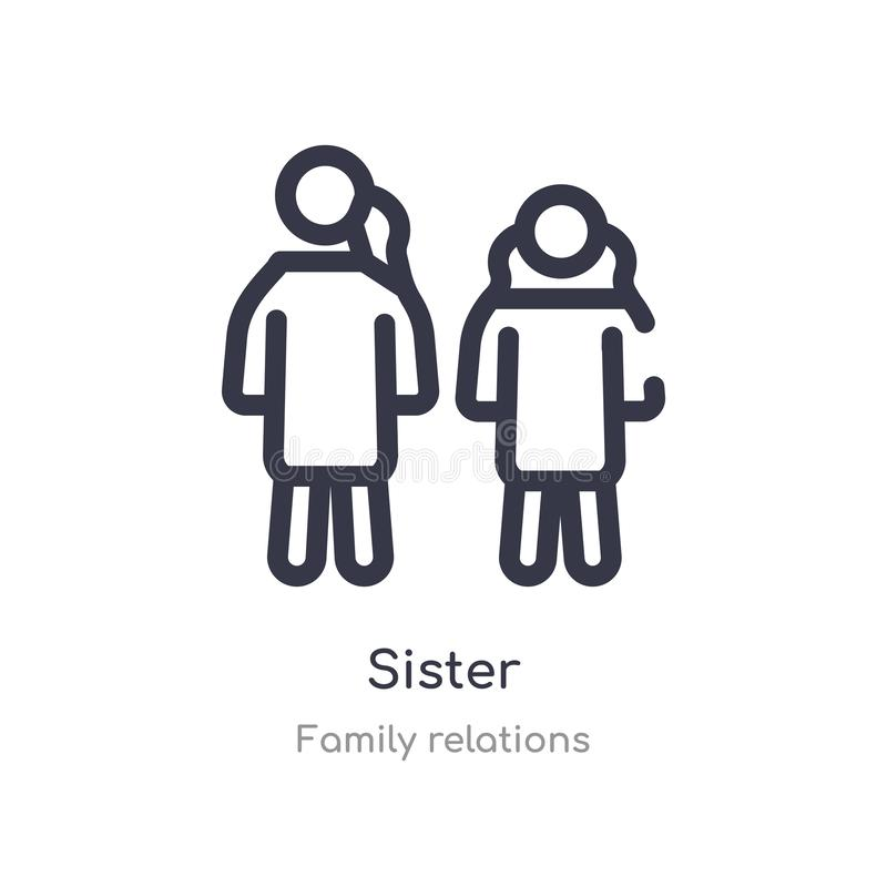 sister outline icon. isolated line vector illustration from family relations collection. editable thin stroke sister icon on white royalty free illustration